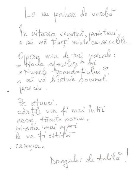 """Un poem scris la """"botul calului"""", cu halbele pe masa de la cafeneaua """"La Muzeu""""."""